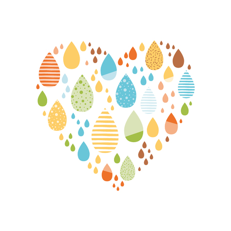 Funny colorful drops of rain in heart shape Vector autumn banner Kids fall background Reklamní fotografie