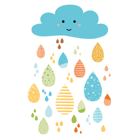 Funny colorful drops of rain clouds. Vector autumn banner fall background Smile Character