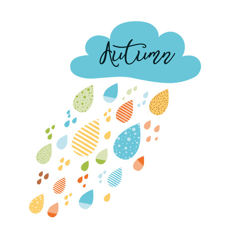 Funny colorful drops of rain clouds Vector autumn nature banner Text Autumn Kids fall background Autumn doodles card Season of the rain, illustration, cute color doodle print wrap scrap paper label