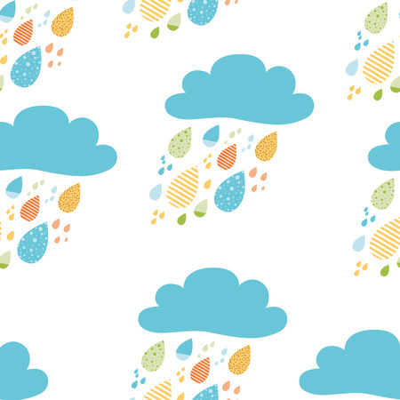 Funny colorful drops of rain clouds Vector autumn seamless pattern Kids fall background Autumn doodles card Season of the rain, illustration, cute wallpaper Color doodle background wrap scrap paper