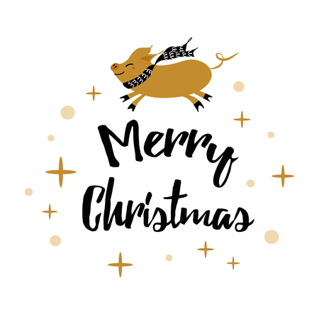 Winter card with text Merry Christmas, pig, gold snowflakes, polka dots pattern isolated on the white. New Year design template for print, sign, postcard, booklet, leaflets, poster, banner, invitation