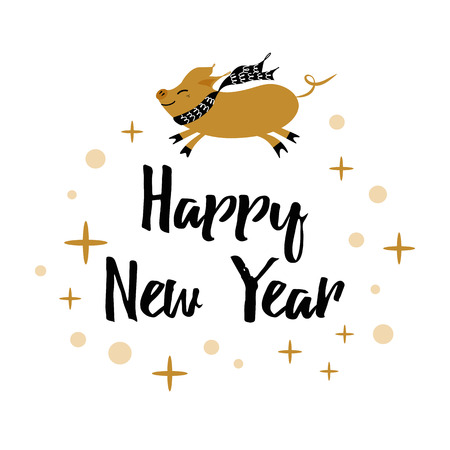 Winter card with text Happy New Year, pig, gold snowflakes, polka dots pattern isolated on the white. Christmas design template for print, sign, postcard, booklet, leaflets, poster, banner, invitation
