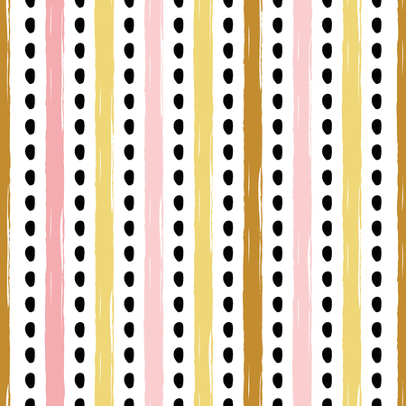 Hand drawn striped seamless pattern polka ornament made in golden, pink, black hand drawn lines Background Vector illustration for wallpaper wrap wrapping, fabric cloth textile design stroke backdrop