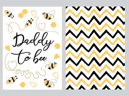 Fathers day banner design set text Daddy to bee decorated bee, zig zag ornament card poster logo