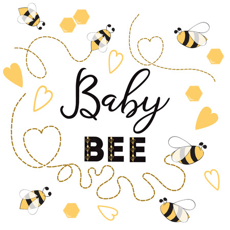 Baby Bee banner bee on white background Cute banner design for Baby Shower Kids birthday Illustration