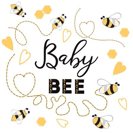 Baby Bee banner bij op witte achtergrond Leuk bannerontwerp voor de verjaardag van Baby Shower Kids