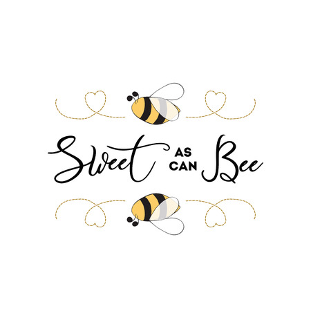Sweet as can Bee banner bee on white background Baby Shower Kids birthday banner design