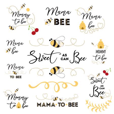 Moederdag logo's, pictogrammen, labels, tags. Handgetekende set met bijenzoete honingbadges Mama bee