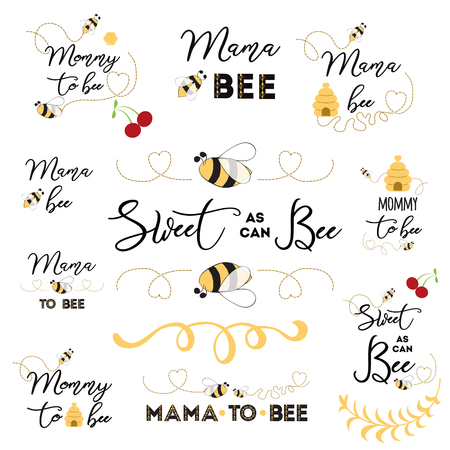 Mothers day logos, icons, labels, tags. Hand drawn set with bee sweet honey badges Mama bee