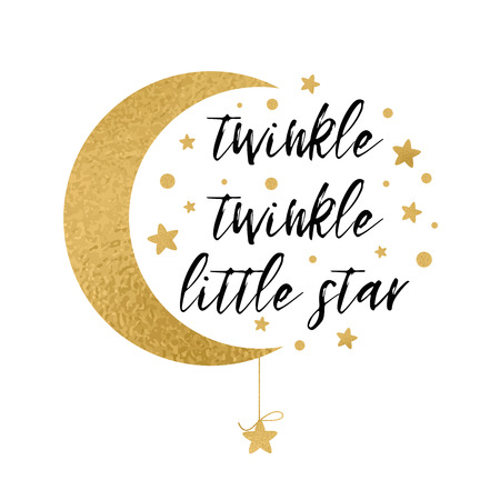 Twinkle twinkle little star tekst met gouden ster en maan voor baby shower kaart ontwerpsjabloon