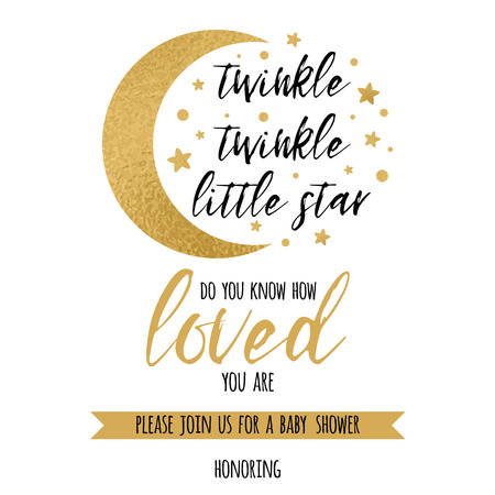 Twinkle twinkle little star text loved with gold star and moon for girl boy baby shower invitation template
