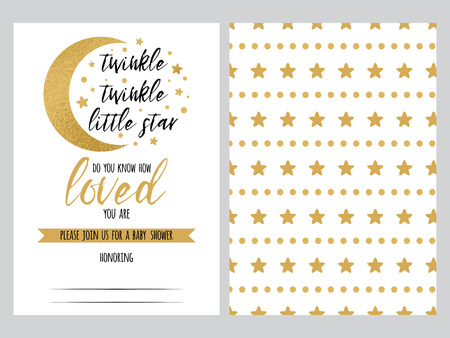 Baby shower invitation template Twinkle little Star with sparkle gold stars background. Gentle banner for children birthday party, congratulation, invitation. Vector illustration logo, sign label set