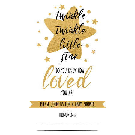 Twinkle twinkle little star text with cute golden stars for girl baby shower card template. Vector illustration. Banner for children birthday design, logo, label, sign, print. Inspirational quote Banco de Imagens