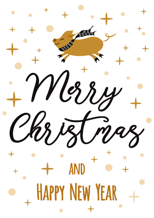 Merry Christmas and Happy New Year golden pig, gold snowflakes stars banner on white New Year design template for print, sign, postcard, booklet, leaflets, poster banner invitation Vector illustration