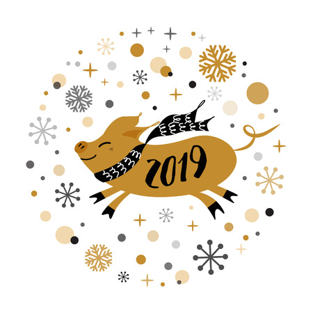 Merry Christmas and Happy New Year 2019 golden pig, gold snowflakes stars banner on white New Year design template for print sign postcard booklet leaflets poster banner invitation Vector illustration Ilustracja