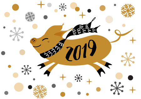 Merry Christmas and Happy New Year 2019 golden pig, gold snowflakes stars banner on white New Year design template for print sign postcard booklet leaflets poster banner invitation Vector illustration 向量圖像