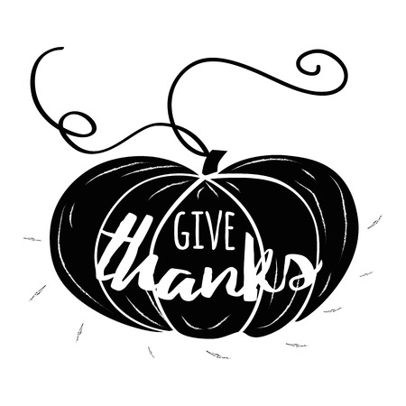 Vector illustration. Thanksgiving card. Modern calligraphy text Give Thanks on hand drawn black pumpkin silhouette. Typography design element for greeting card, invitation, print