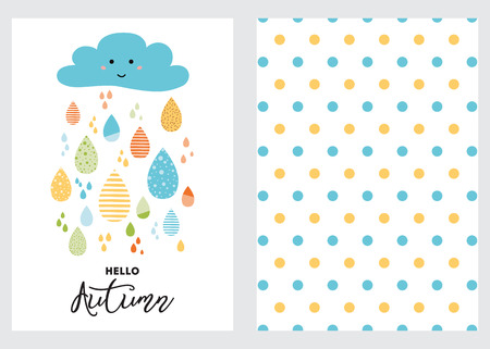 Funny colorful drops of rain clouds Polka dot background Vector autumn banner set Smile Character Kids fall background Autumn doodles card Season of the rain, illustration cute color doodle print wrap