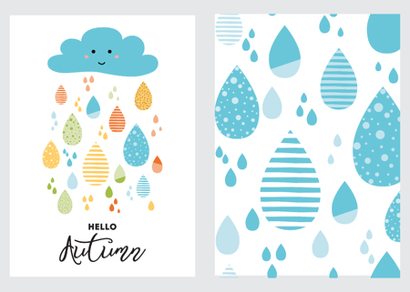 Funny colorful drops of rain clouds Blue rainy background Vector autumn banner set Smile Character Kids fall background Autumn doodles card Season of the rain illustration cute color doodle print wrap