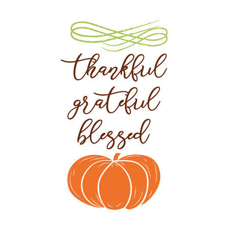 Grateful, thankful, blessed. Hand sketched graphic vector element with pumpkins colorful