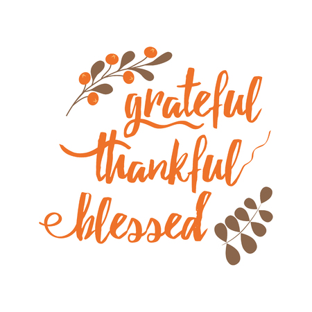 Handwritten vector lettering phrase grateful thankful blessed decorated autumn floral branch Hand drawn lettering calligraphy style writing. Perfect for thank you greeting cards painted on black color Banco de Imagens