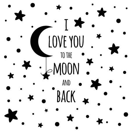 Te quiero hasta la luna y más allá. Amor cita inspiradora del día de San Valentín para su diseño estrellas negras