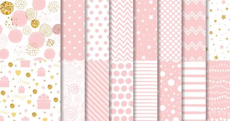 Conjunto de patrón transparente rosa dulce Colección de fondo punteado rosa Vector de plantilla ornamental geométrica de niña bebé