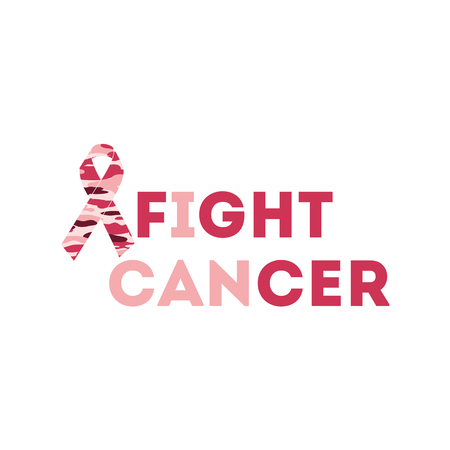 Text fight cancer Breast Cancer Awareness Month background design. Breast cancer awareness pink ribbon