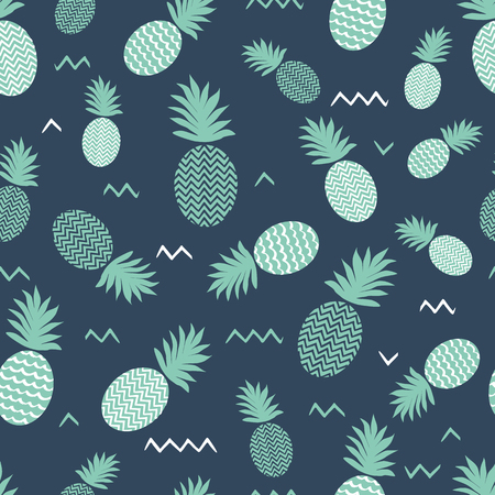 Pineapple seamless pattern Summer tropical classical vacation men background Template for clothes textiles t-shirt design Vector illustration Doodle Green grey colors Modern botanical boys print.