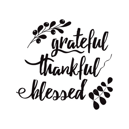Grateful thankful blessed decorative vector lettering phrase decorated floral black autumn branch Фото со стока - 110093514