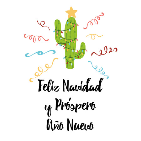 Merry Christmas banner. Happy cactus in a Christmas garland. Cute vector greeting card, print, label, poster, sign. Title in Spanish. Vector illustration Hand drawn mexico design Cute Christmas cactus