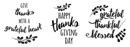 Thanksgiving Set Phrasen Dankbar dankbar gesegnet Text floral schwarz Herbst Zweig schwarz Vektorgrafik