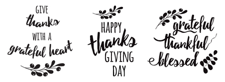 Thanksgiving set zinnen Dankbaar dankbaar gezegend tekst bloemen zwart herfst tak zwart Vector Illustratie
