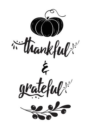 Dankbarer dankbarer Text dekorativer Vektorbeschriftungsphrasekürbisherbstzweig Thanksgiving Day Wort
