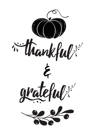 Thankful grateful text decorative vector lettering phrase pumpkin fall branch Thanksgiving day word