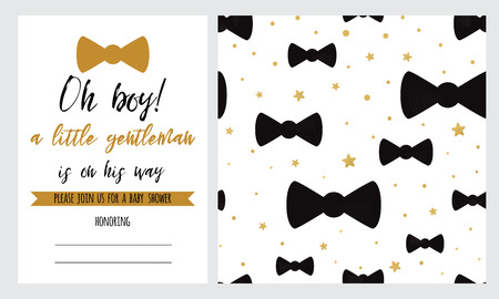 Baby Shower invitation template Hipster black moustache golden bow tie gold crow seamless pattern background Oh boy set for children birthday party congratulation invitation Vector illustration.