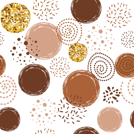 Abstract seamless vector brown coffee pattern with hand drawn round elements. Sketched caramel golden vintage design Background for greetings invitations wrapping paper textile web design on the white