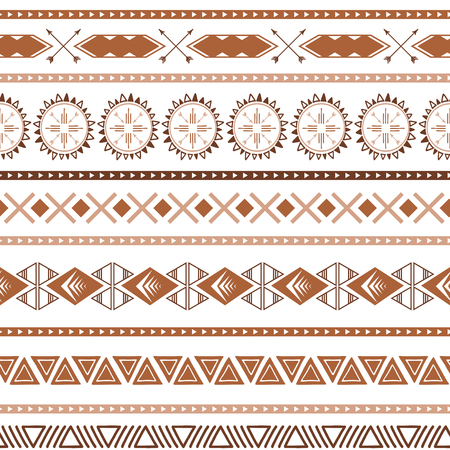 Seamless ethnic tribal texture made in coffee pattern style . Light brown, caramel and coffee colors. Native abstract tribal geometric pattern for fabric, textile or wallpaper striped background Illustration