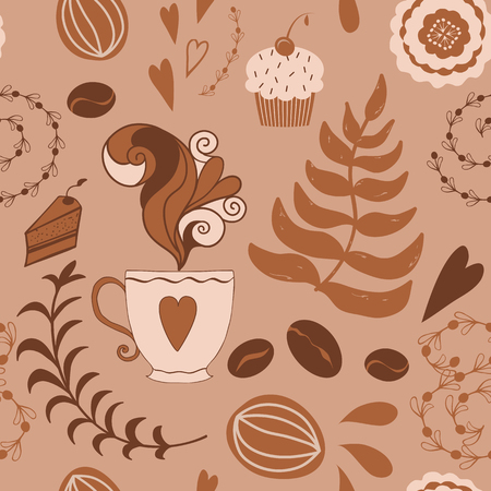 Abstract seamless vector brown coffee pattern with hand drawn doodle cafe elements Cup of coffee vintage design Background for greetings invitations wrapping paper textile tablecloth design