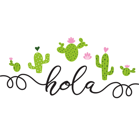Text Hello in Spanish Hand drawn cute green cactus with pink hearts Printable background Summer home decor Cacti Greeting card template banner label logo poster sign print symbol Vector illustration. Foto de archivo - 110093443