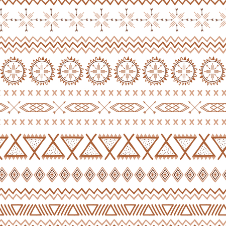 Seamless ethnic tribal texture made in coffee pattern style Decorative brown, caramel and coffee colors. Native mexican tribal geometric pattern for fabric textile wallpaper striped mexico background Illustration