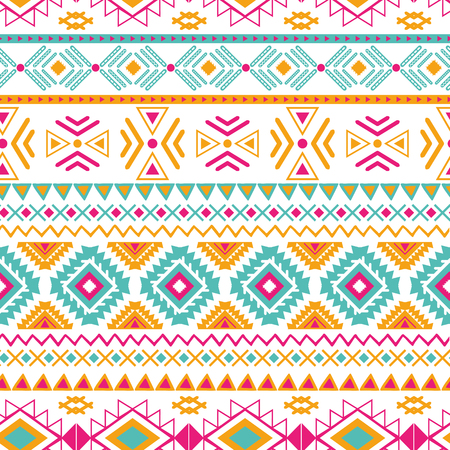 Modello senza cuciture etnico tribale di vettore nel fondo geometrico azteco di colori arancio rosa luminosi. Trama ornamento messicano Design tradizionale nativo americano Stampa geometrica popolare per stoffa avvolgente