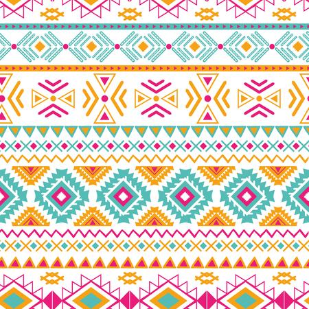 Vector de patrones sin fisuras étnicas tribales en colores naranja rosa brillante Fondo geométrico azteca. Textura de adorno mexicano Diseño tradicional nativo americano Impresión geométrica popular para tela de envoltura de papel tapiz