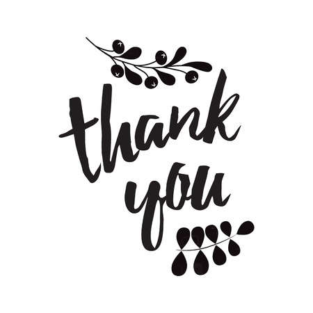 Vector thank you banner decorated black branch decor shape Hand draw floral ornament background Thanks calligraphy letters on white for greeting card Lettering design word text font phrase quote sign.