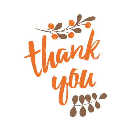 Vector thank you banner decorated black branch decor Hand draw floral ornament background.