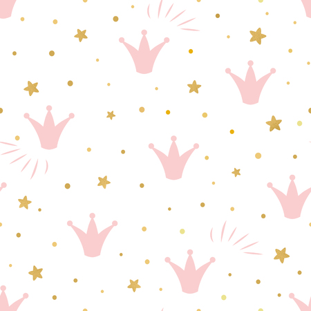 Pink cute princess pattern Seamless background with a pink crown gold stars on a white background vector