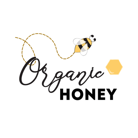 Honey logo design for company with bee Vector