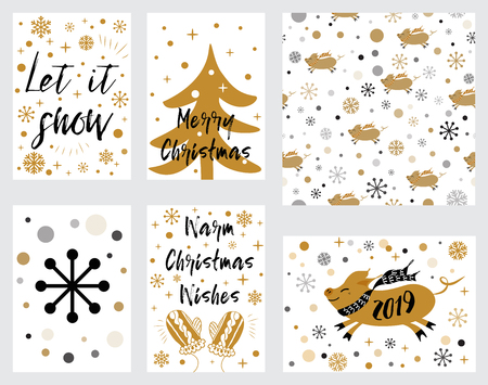 Christmas banners tags set with pig Christmas tree mittens phrases decorated gold snow Lettering Merry Christmas. Vector illustration Illusztráció