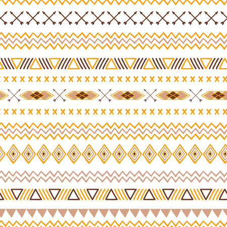 Seamless tribal ethnic pattern Aztec abstract background Mexican ornamental texture in yellow coffee brown colors vector Vektorové ilustrace
