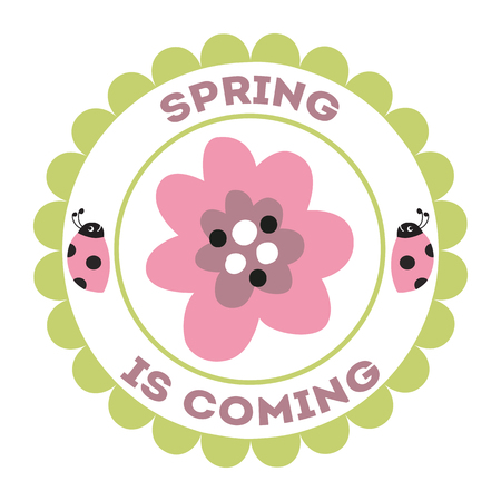 Stamp Spring is coming ladybug flowers green hand drawn wreath summer design element